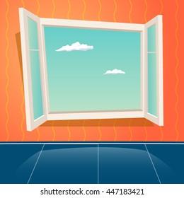 Cartoon Window Design Template Retro Background Vector Illustration