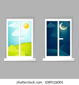 Cartoon window view. Day and night scene. Hill, clouds, sun, moon, windowsill. Eps 10 vector illustration.