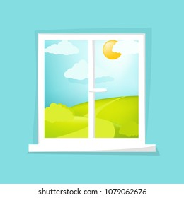Cartoon window view. Sunny day scene. Hill, clouds, sun, windowsill. Eps 10 vector illustration.