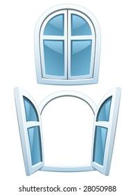 Cartoon windows - closed and open (Vector)