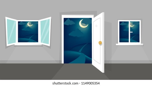 Cartoon windows and door view set. Mystic night scene. Hill, clouds, moon, windowsill, door knob. Eps 10 vector illustration.