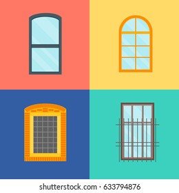 Cartoon Windows Set with Grille on Color Background Decoration Building Construction Element Urban Street Flat Design Style. Vector illustration