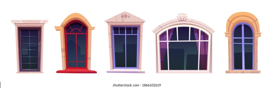 Cartoon windows set, vintage glasses with stone frames, windowsill and curtains inside, retro style arched and rectangular palace or castle exterior design elements isolated vector illustration, icons