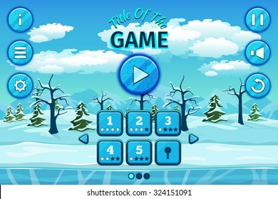 Cartoon winter or arctic landscape with ice, snow and cloudy sky. Game user interface with control elements, buttons, status bar and icons.  Setup and level, title play, vector illustration