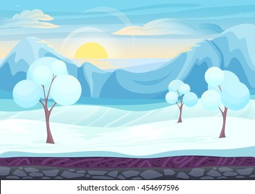 Cartoon winter game style landscape with with ice, trees, cloudy sky and snow mountains hills. Background for games