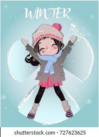 cartoon winter girl