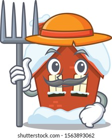 Cartoon winter house with in farmer character
