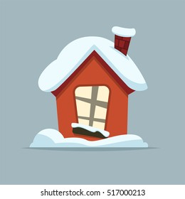 Cartoon Winter house. Vector image of the red brick christmas houses covered with snow.