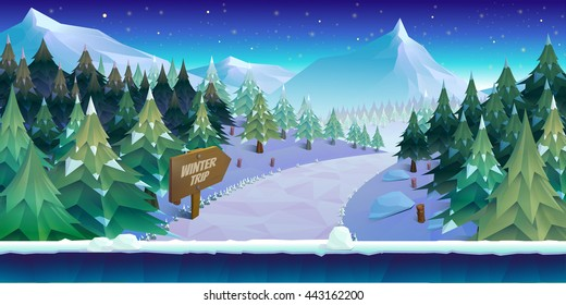 Cartoon winter landscape with ice, snow and cloudy sky. vector nature background for games.