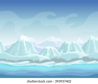 Cartoon winter landscape with snow mountains Seamless vector nature background for games. polar  environment illustration
