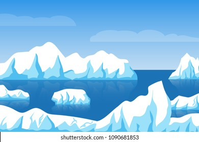Cartoon winter polar arctic or antarctic ice landscape with iceberg in sea vector illustration. Ice berg in ocean, glacier arctic illustration