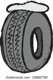 cartoon winter tires, vector illustration