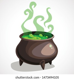 Cartoon witch cauldron with magic green potion and steam. Vector illustration