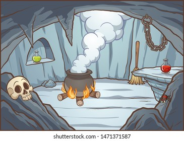 Cartoon witch cave background with cauldron and potions. Vector illustration with simple gradients. Some elements on separate layers. \r\n