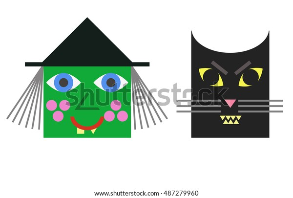 Halloween Cartoon Witch Face.Cartoon Witch Face Cat Halloween Character Stock Vector Royalty