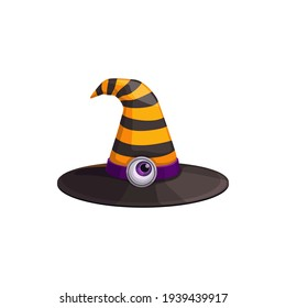 Cartoon witch hat vector icon, magician headwear with black and yellow stripes and eye ball on hatband. Halloween costume, wizard cap isolated on white background
