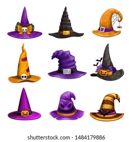 Cartoon witch hats, colorful icons set. Wizard hat collection. Halloween costume element. Vector illustration.