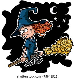 Cartoon witch on a broom flying at night