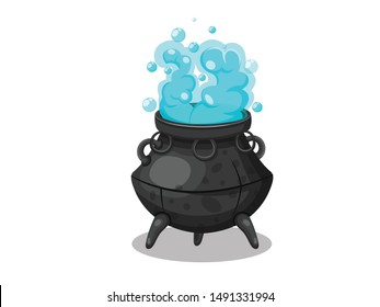 Cartoon witches cauldron. Concept cartoon witches cauldron for halloween of magic, witchcraft, boiling potions. Vector clipart illustration isolated on white background