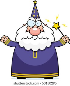 A cartoon wizard with an angry expression.