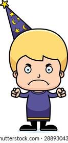 A cartoon wizard boy looking angry.