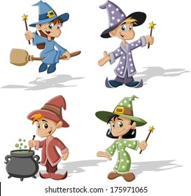 Cartoon wizard boys and witch girls. Halloween costume.