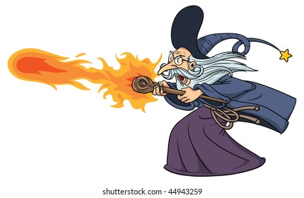 Cartoon wizard casting a fire spell. Wizard and fire on separate layers for easy editing.
