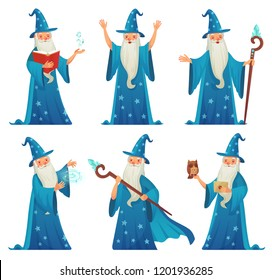 Cartoon wizard character. Old witch man in wizards robe, magician warlock and magic medieval spelling sorcerer merlin, male witchcraft in hat and mantle Mystery isolated vector icons set