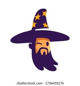 Cartoon Wizard Head Mascot Logo
