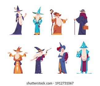 Cartoon wizard. Magician old characters with beard wear long robes and pointed hats. Senior wise sorcerers cast magical spells. Cheerful warlocks hold mystery magic tools. Vector medieval wizards set