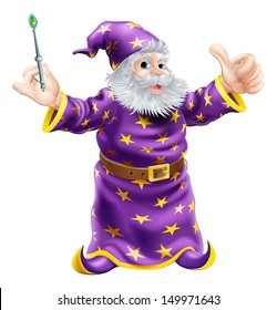 A cartoon wizard or sorcerer holding a wand and giving a happy thumbs up