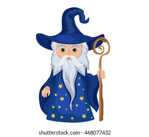 Cartoon Wizard with staff. Isolated on white background.
