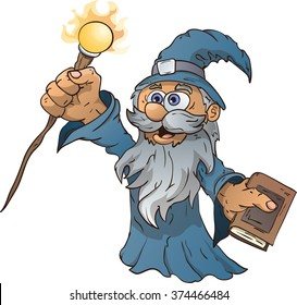 Cartoon wizard, vector illustration