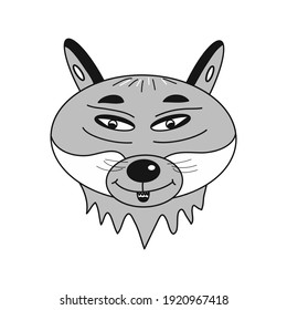 Cartoon wolf illustration. Idea for logos, icons, decors, gifts, books. Isolated vector illustration.