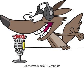 Cartoon wolf as a radio talk show host