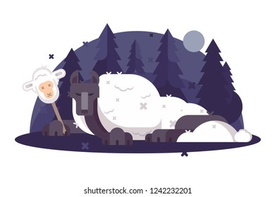 Cartoon wolf in sheeps clothing flat poster. Christian parable saying or proverb vector illustration. Humor metaphor concept. Night forest and moonlight on background