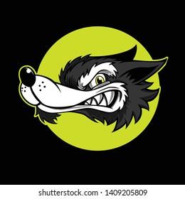 Cartoon Wolf Style Mascot Vector Template