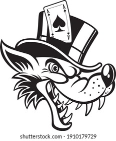 cartoon wolf with top hat and ace of spades