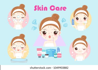 cartoon woman with acne problem before and after