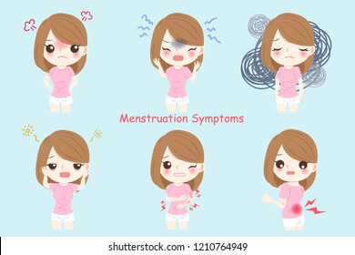 cartoon woman with all kinds of Menstruation Symptoms
