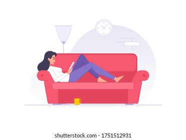 Cartoon woman character reading book on sofa at home flat vector illustration. Woman resting in living room and reading interesting book isolated white background