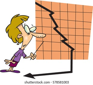 cartoon woman with chart and plunging arrow