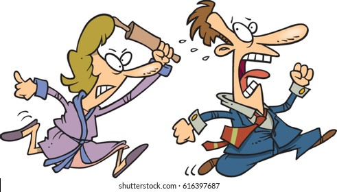 cartoon woman chasing man with a rolling pin