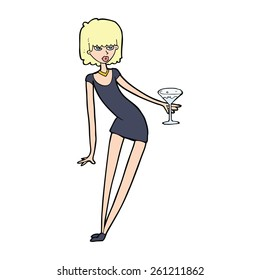 cartoon woman with cocktail
