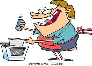 cartoon woman cooking