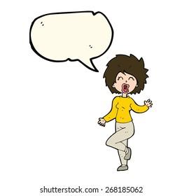 cartoon woman dancing with speech bubble