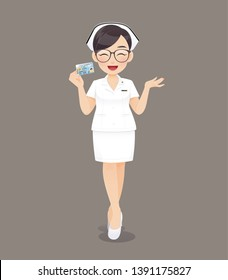 Cartoon woman doctor or nurse wearing brown glasses in white uniform holding ID card on brown background, Smiling female nursing staff, Vector illustration in character design