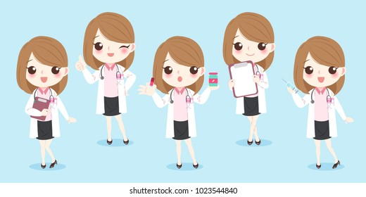 cartoon woman doctor on the blue background