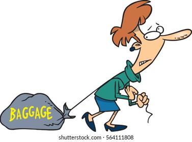 cartoon woman dragging baggage