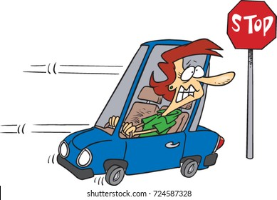 cartoon woman driving in reverse to a stop sign she forgot to stop at